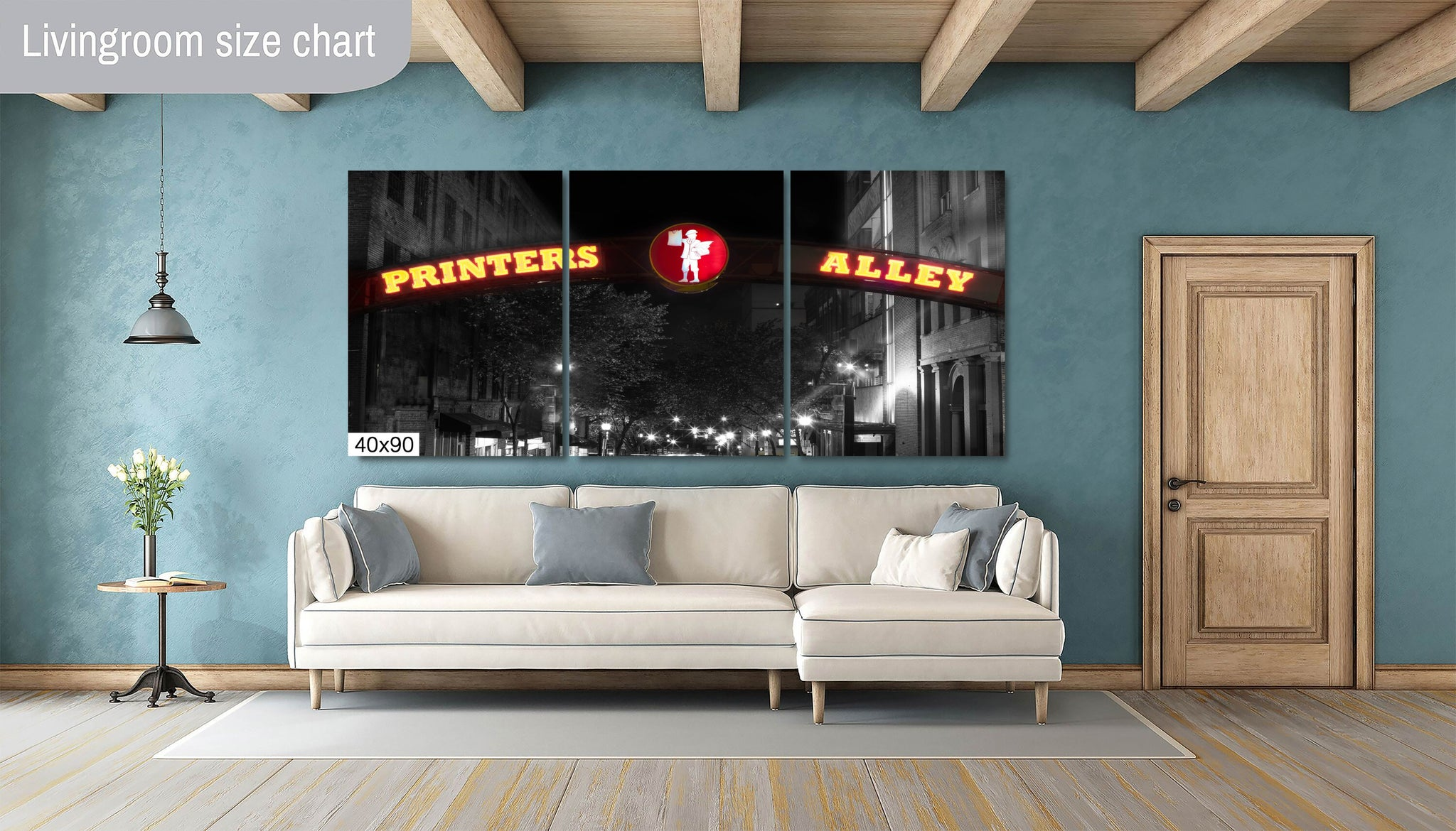Printer's Alley Yellow and Red Nashville City Photography Metal Print Wall Art Picture Home Decor Poster Landmark Bedroom Livingroom