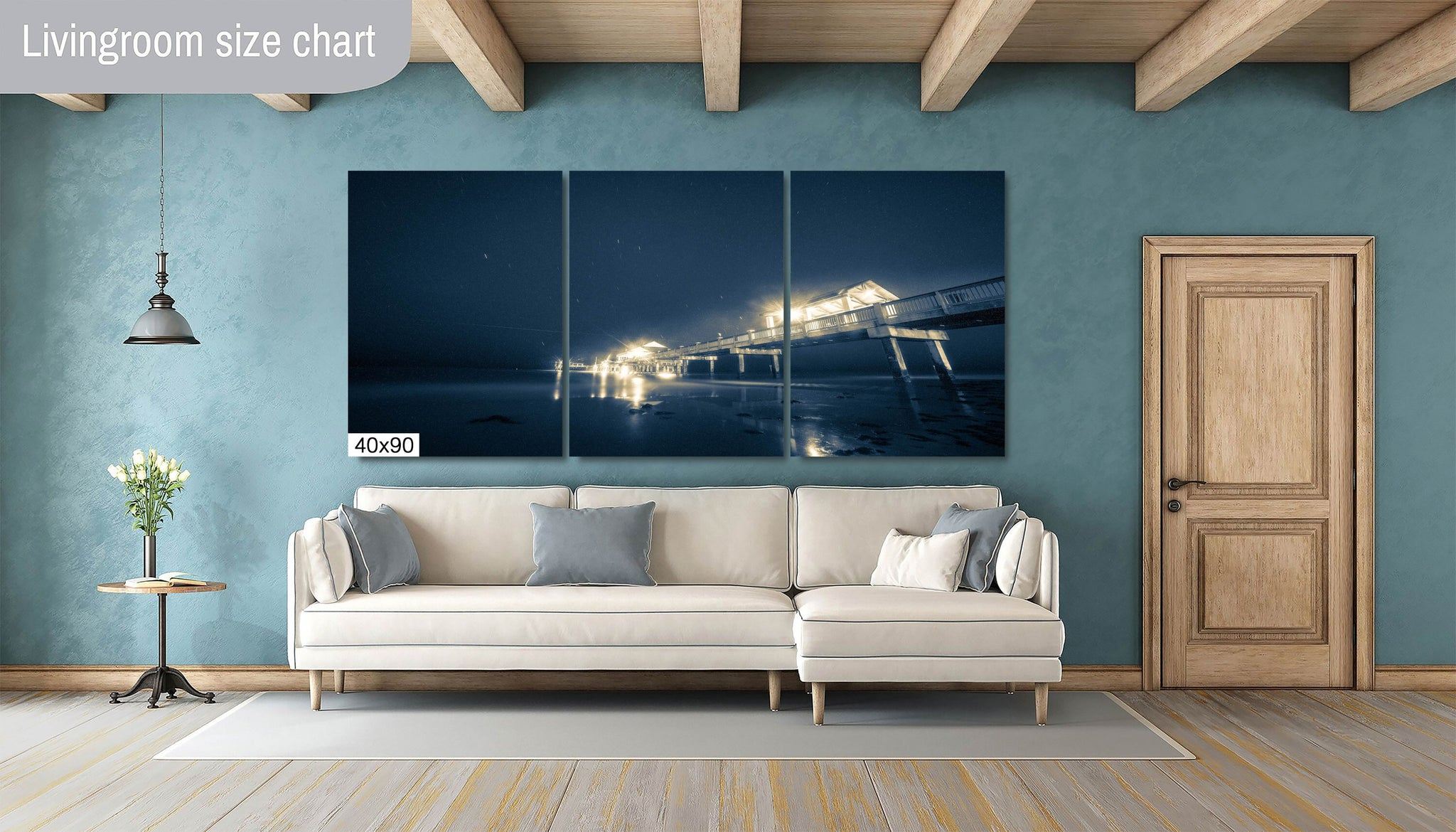 Pier 60 at Midnight Clearwater Beach Florida Canvas Print Metal Art Cityscape Landmark Bedroom Livingroom wall art decor Seascape