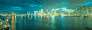 Miami Downtown Skyline Florida Sunset Photography Art Wall Decor Canvas Metal Print Landmark Livingroom Bedroom Sunset Panorama