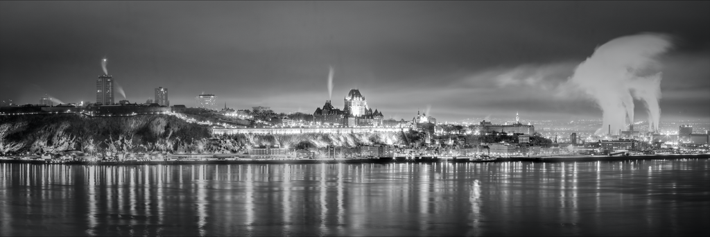 Quebec City Skyline Photography black and white B&W landmark Canvas Metal Print Livingroom Bedroom Canada Wall Art Poster decor Gift Present