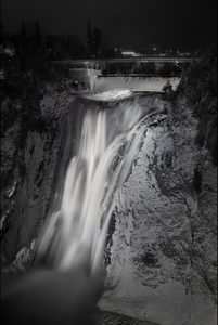 Montmorency Falls Waterfall Quebec City Photography black and white B&W landmark Canvas Metal Print Livingroom Bedroom Canada Night winter