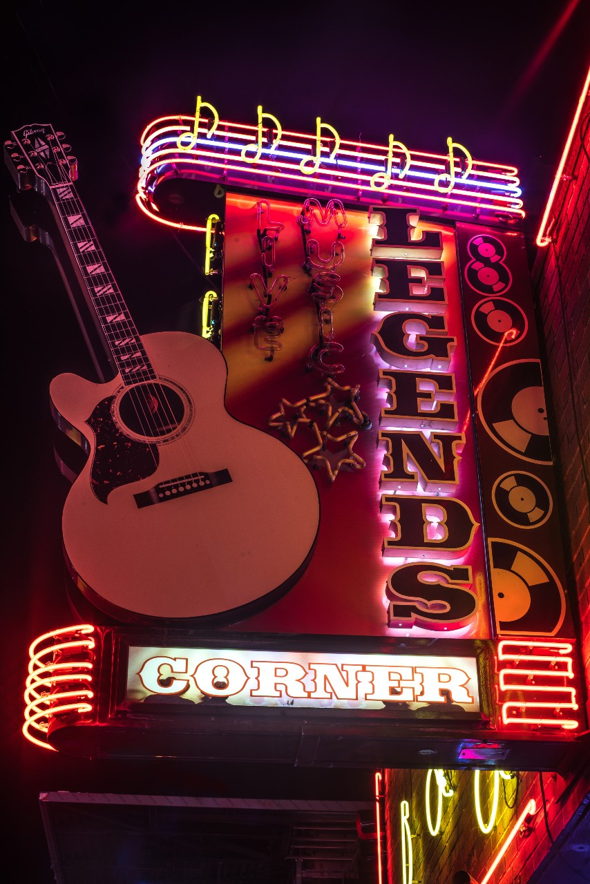 Honky Tonk Sign Legends Nashville City Photography Metal Print Wall Art Picture Home Decor Poster Landmark Bedroom Livingroom