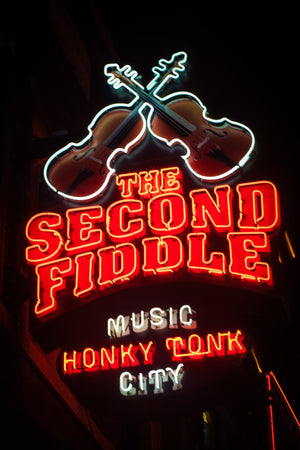 Honky Tonk Sign Second Fiddle Nashville City Photography Metal Print Wall Art Picture Home Decor Poster Landmark Bedroom Livingroom