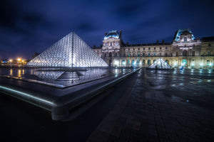 The Louvre Art Museum Pyramid Paris France Canvas Photography Metal Print Wall Art Picture Home Decor Poster Landmark