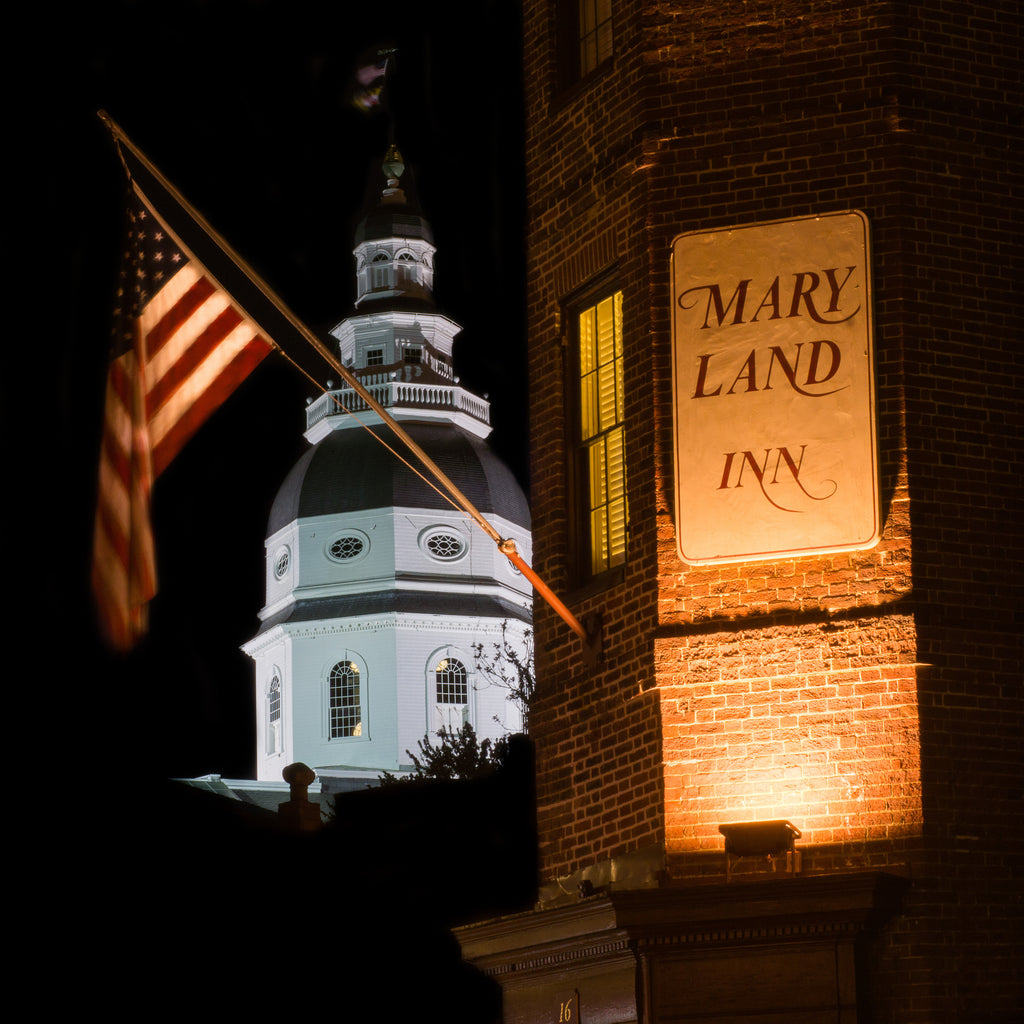 Maryland Inn Annapolis Colonial Style State Capitol Skyline Canvas Photography Metal Print Wall Art Picture Home Decor Poster Landmark