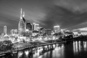 Nashville Tennessee Skyline Downtown Photography black and white B&W landmark Canvas Metal Print Livingroom Bedroom Sunset wall art poster