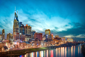 Nashville Tennessee Skyline Downtown Photography Landmark Canvas Print Livingroom Bedroom Sunset Wall Art Cityscape