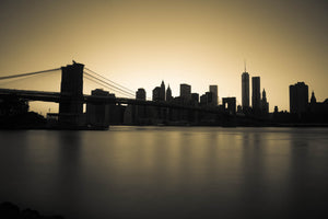 New York City Downtown Skyline Brooklyn Bridge Skyscaper Cityscape Canvas Photography Metal Print Wall Art Picture Home Decor Poster Landmark