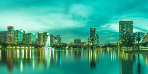 Orlando Downtown Skyline Florida Photograph Canvas Print Metal Livingroom Bedroom Gift Art Wall Decor Home Downtown Palm Trees Lake Eola