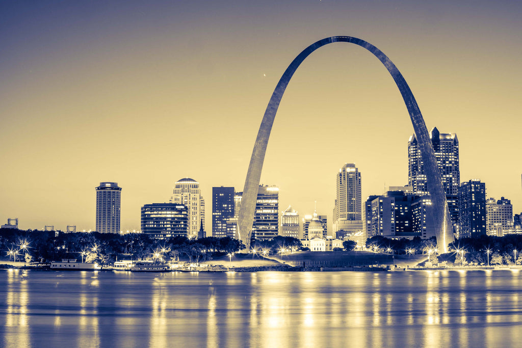 St Louis Arch Blue Gateway Sunset Cityscape Downtown Skyline Canvas Photography Metal Print Wall Art Picture Home Decor Poster Landmark