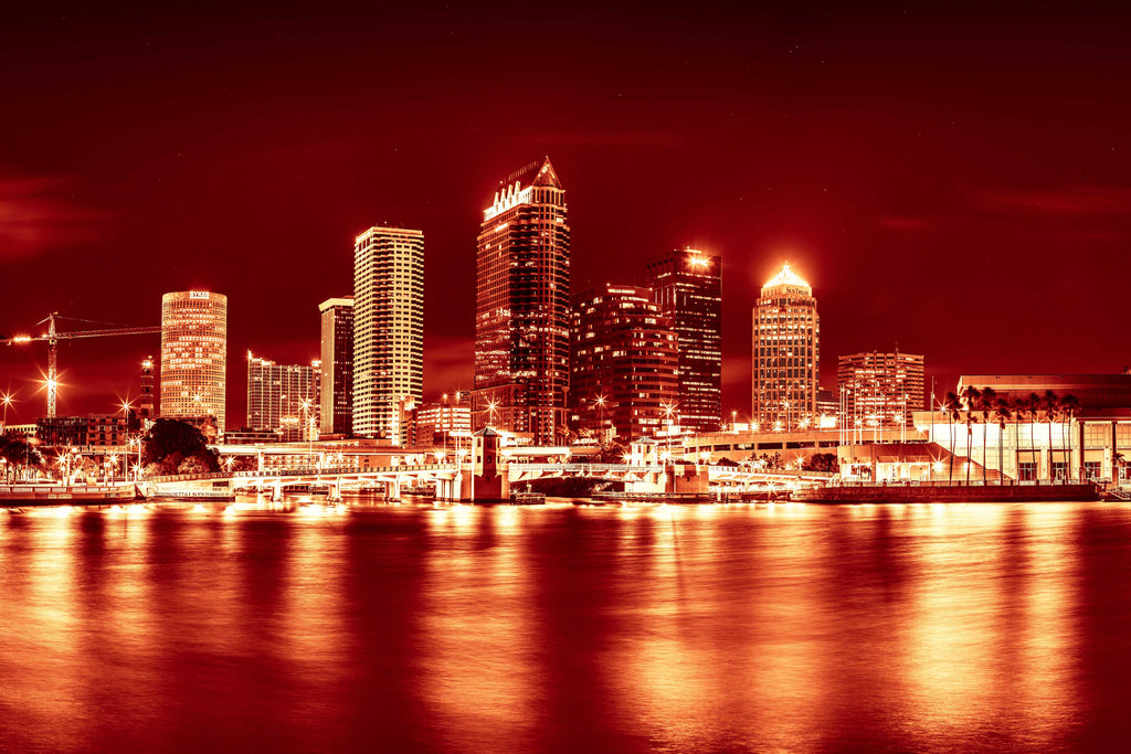 Tampa Downtown Skyline Florida Canvas Photography Metal Print Wall Art Picture Home Decor Poster Landmark Hillsborough River Red