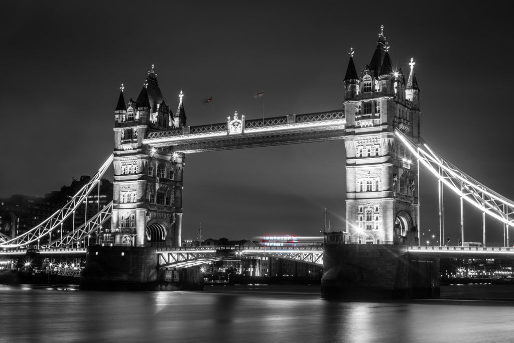 Tower Bridge Downtown London England United Kingdom Photography B&W Black and White Canvas Metal Print Livingroom Bedroom Wall Art Post