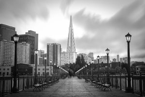 TransAmerica Pyramid San Francisco Skyline Northern California Canvas Print B&W Metal Cityscape Landmark Livingroom wall art decor home