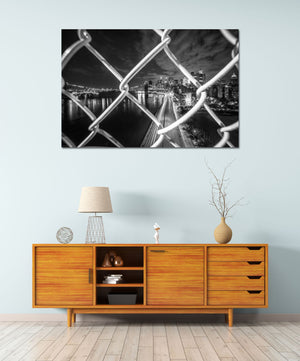 Manhattan Bridge Brooklyn Bridge Downtown Manhattan Skyline New York City Cityscape Canvas Photography Metal Print Wall Art Home Decor
