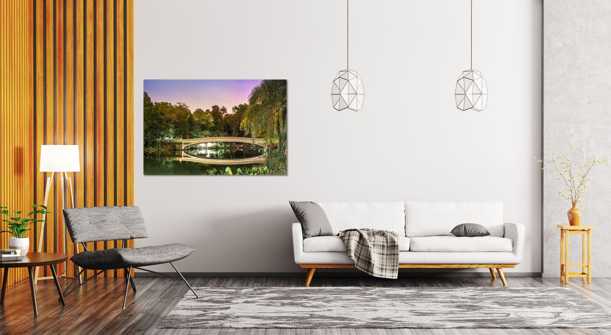 Bow Bridge Central Park Sunset Manhattan New York City Canvas Print Metal Art Cityscape Landmark Bedroom Livingroom wall art decor home post