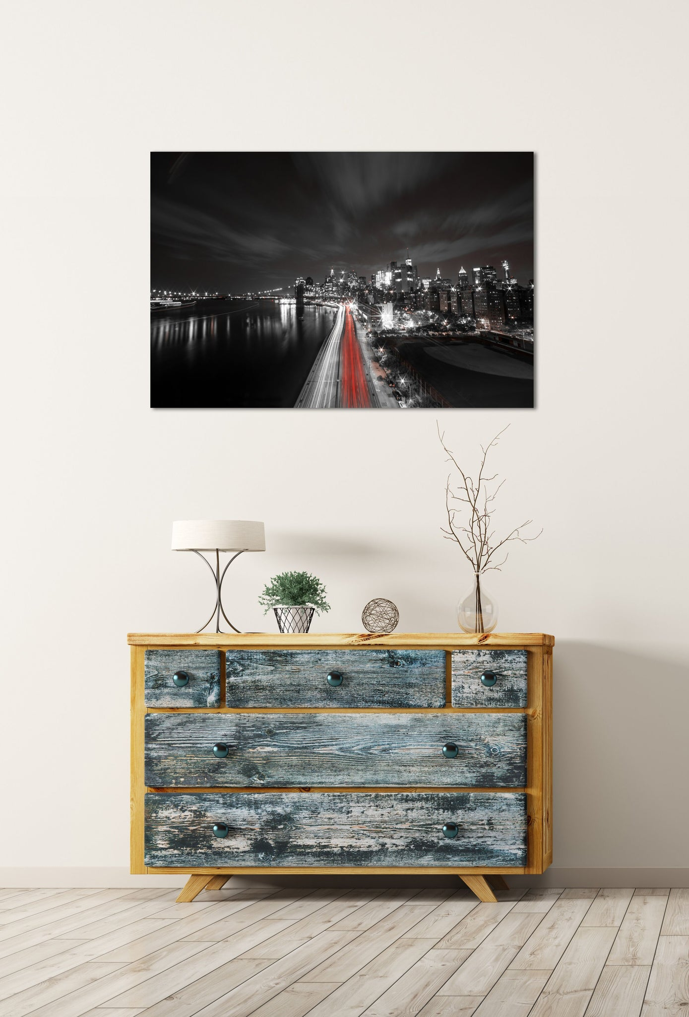 New York City Skyline Downtown Manhattan Skyscraper Black and White Canvas Metal Print Wall Art Picture Home Decor Bedroom Livingroom Poster