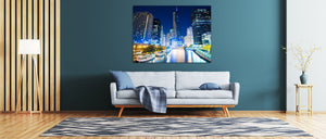 Chicago River Downtown Bridge Illinois Canvas Print Metal Art Cityscape Landmark Bedroom Livingroom wall art decor
