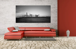 New York City Downtown Skyline Black and White Skyscraper Cityscape Canvas Photography Metal Print Wall Art Picture Home Decor Landmark