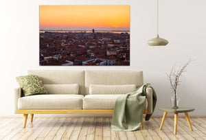 Venice Italy Terracotta Rooftops Sunset Skyline Canvas Photography Metal Print Wall Art Picture Home Decor Poster Landmark Bedroom