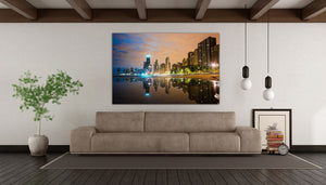 Lake Shore Drive Chicago Skyline Canvas Photography Hancock Building Illinois Downtown Landmark Metal Print Livingroom Bedroom Lake Michigan