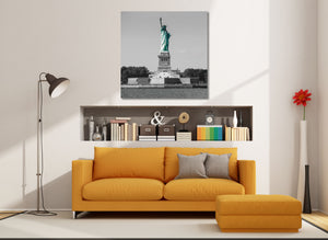 Statue of Liberty Black and White Monument Canvas Photography Metal Print Wall Art Picture Home Decor Poster Landmark
