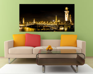 Eiffel Tower Paris France Downtown Gold Alexander Bridge Canvas Metal Print Wall Art Picture Home Decor Bedroom Livingroom Poster Landmark