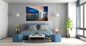 Clearwater Beach Memorial Bridge Blue Canvas Print Metal Art Cityscape Landmark Bedroom Livingroom wall art decor