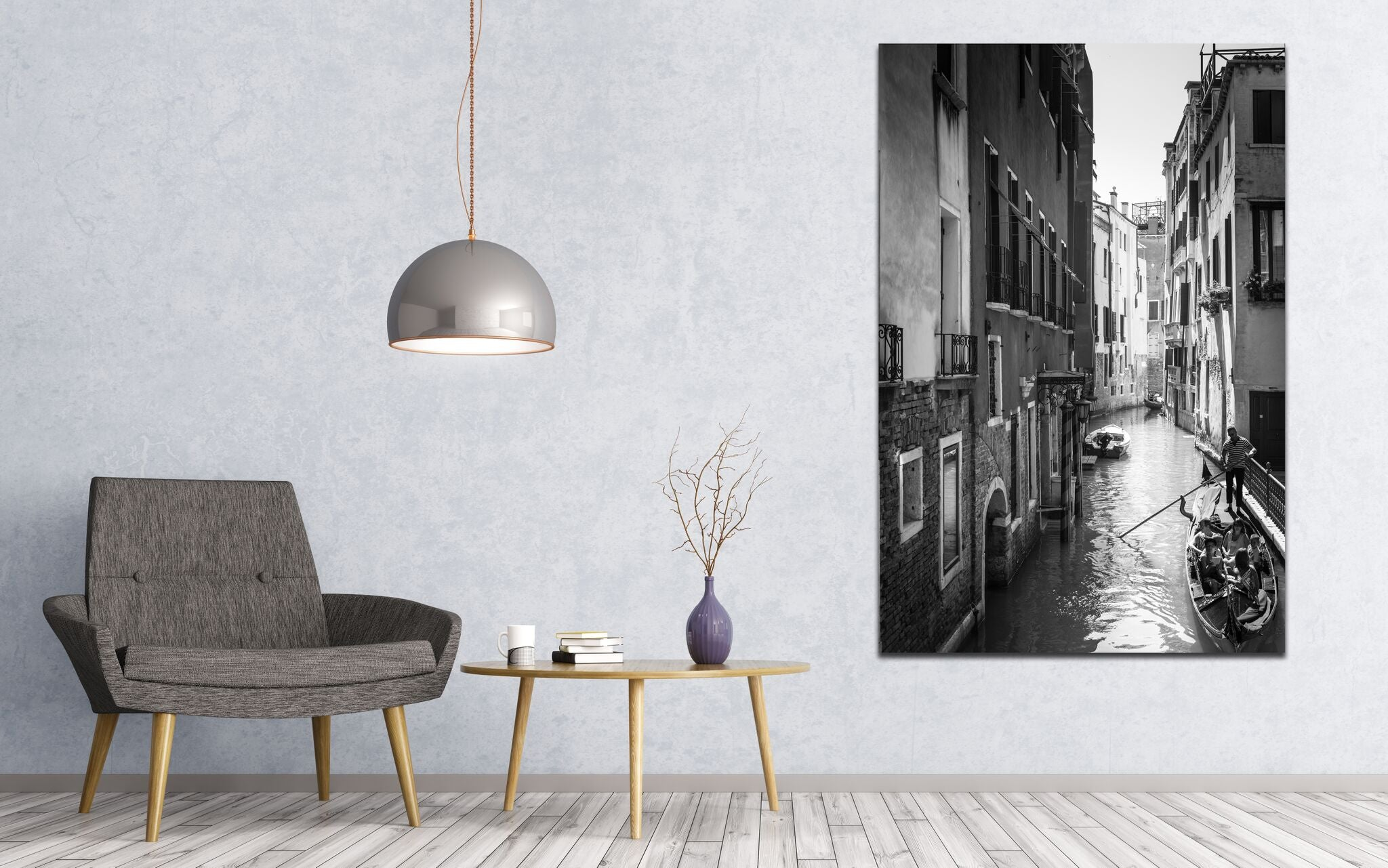 Venice Italy B&W Gondola Skyline Canvas Photography Metal Print Wall Art Picture Home Decor Poster Landmark Bedroom Livingroom
