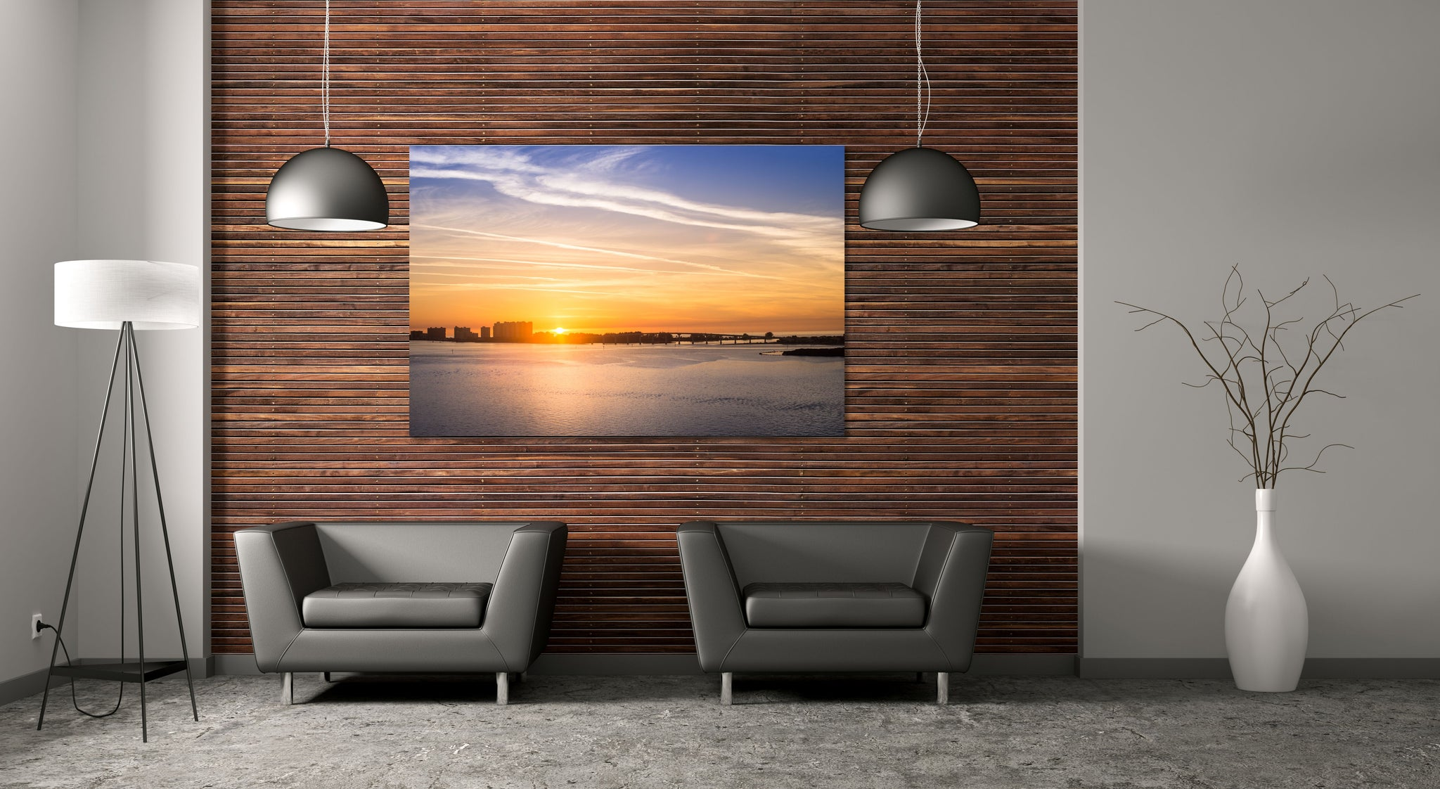 Clearwater Sunset Sandkey Bridge Florida Canvas Print Metal Art Cityscape Landmark Bedroom Livingroom wall art decor
