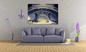 Eiffel Tower Paris France Photography Landmark Canvas Metal Print Wall Art Poster Livingroom Bedroom Night Art Home Decor Blue Cityscape