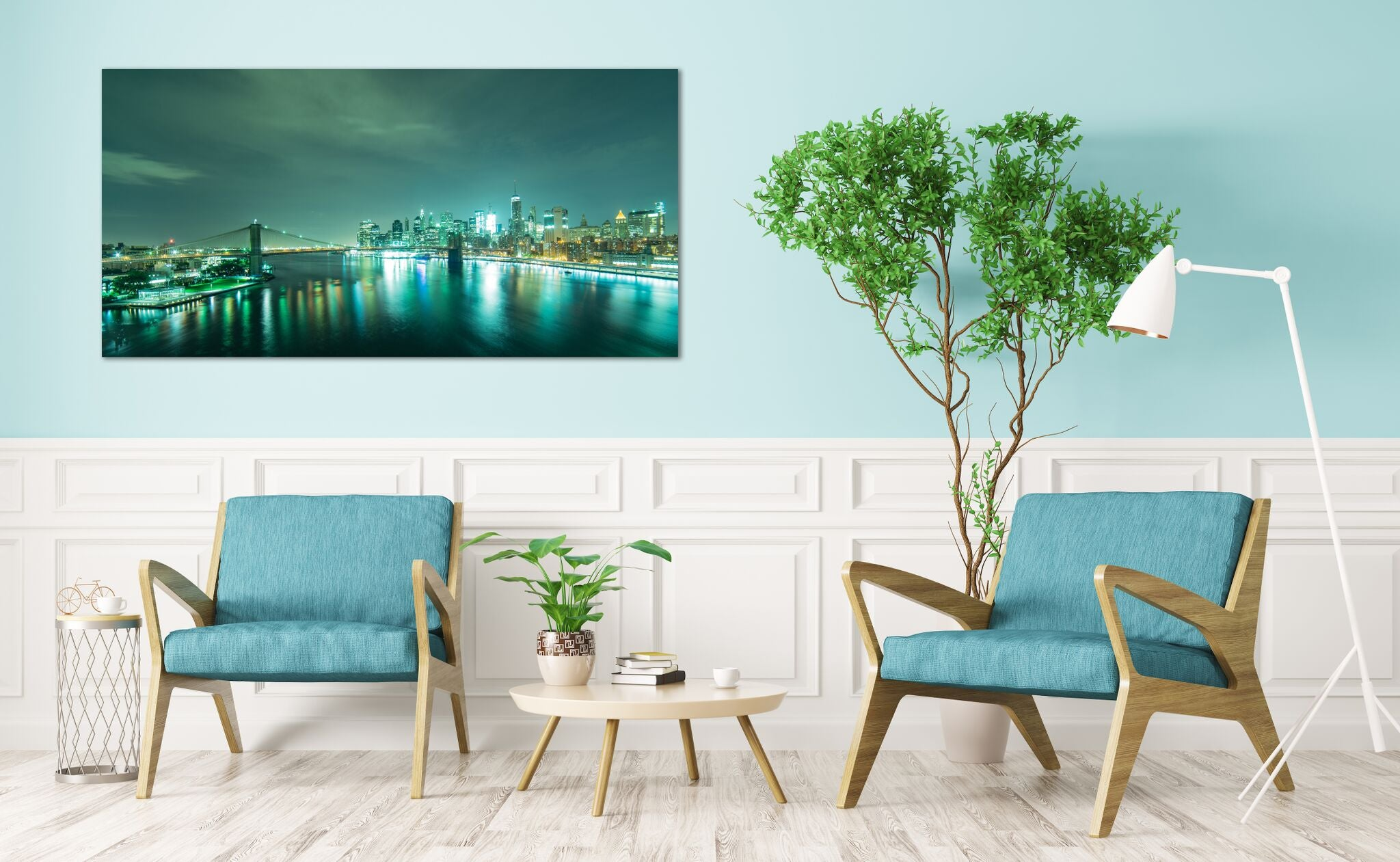 New York City Skyline Manhattan Downtown Brooklyn Bridge Photograph Canvas Print Metal Art Cityscape home Bedroom Livingroom wall art poster