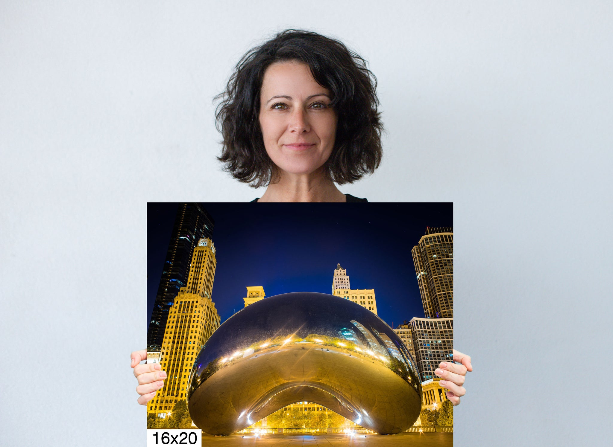 The Bean Downtown Chicago Illinois Millennium Park Canvas Metal Print Wall Art Picture Home Decor Bedroom Livingroom Poster Landmark Blue