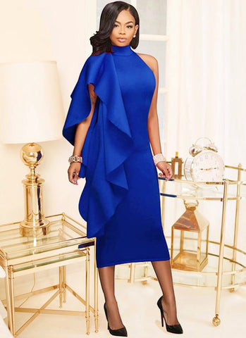 Clara Ruffled Party Dress-Royal Blue - Posh Fashion Girls