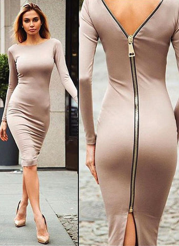 Tiana Bodycon Dress-Nude - Posh Fashion Girls