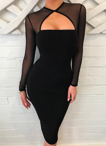 Suzy Mesh Bodycon Dress - Posh Fashion Girls