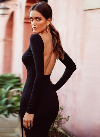 Niaz Backless Bodycon Dress- Black - Posh Fashion Girls