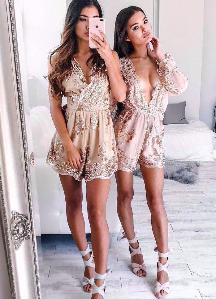 Holly Chic Playsuit -Gold - Posh Fashion Girls