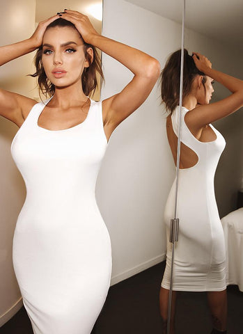 Hali Bodycon Dress-White - Posh Fashion Girls