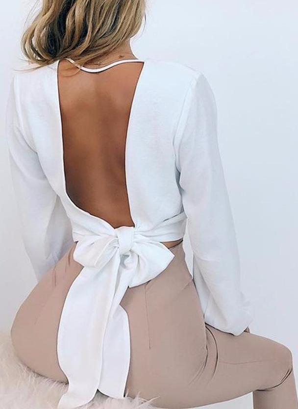 Hailey Knotted Top- White - Posh Fashion Girls