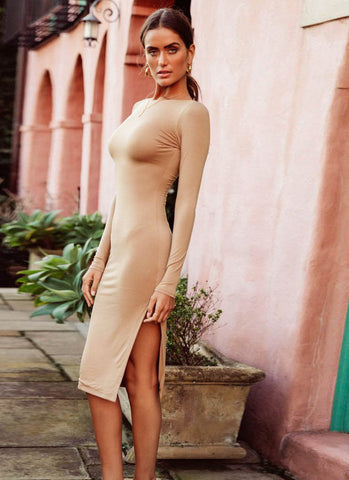 Niaz Backless Bodycon Dress- Nude - Posh Fashion Girls
