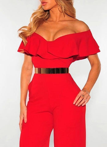 Adley Off Shoulder Jumpsuit- Red - Posh Fashion Girls