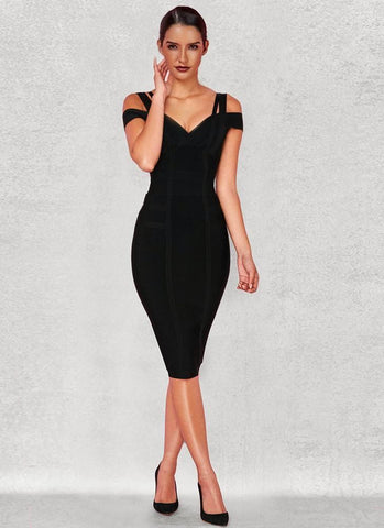 Chanel Off Shoulder Bandage Dress- Black - Posh Fashion Girls