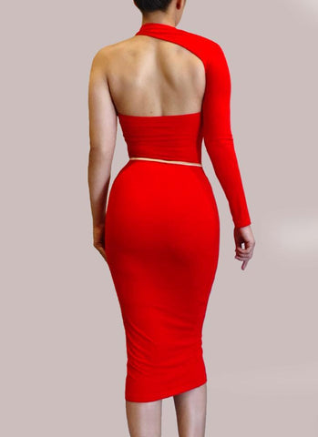 Dasha Modern Dress - Red - Posh Fashion Girls