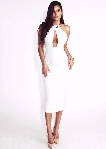 Dream Of Mid Night Party Dress-White - Posh Fashion Girls