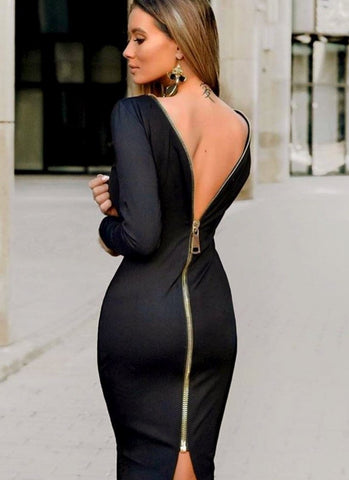 Tiana Bodycon Dress-Black - Posh Fashion Girls