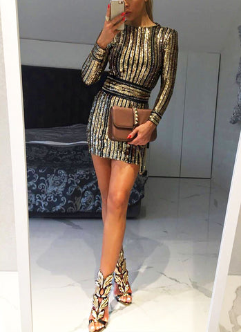 Arya Gold Sequins Dress-Gold - Posh Fashion Girls