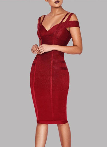 Chanel Off Shoulder Bandage Dress- Maroon - Posh Fashion Girls