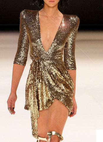 Vera Sequins Dress- Gold - Posh Fashion Girls