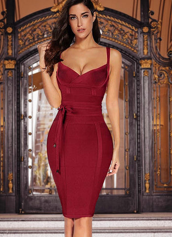 Lisa Bodycon Bandage Dress- Red Wine - Posh Fashion Girls
