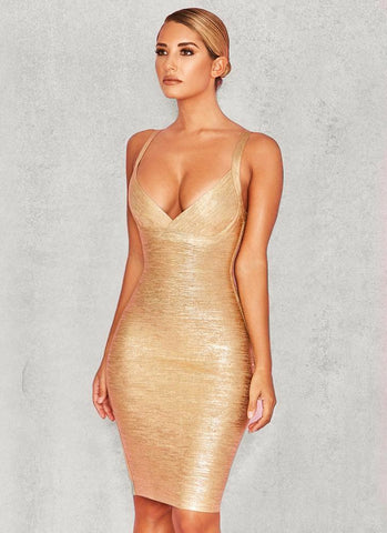 Ahoo Gold Cross Bandage Dress- Gold